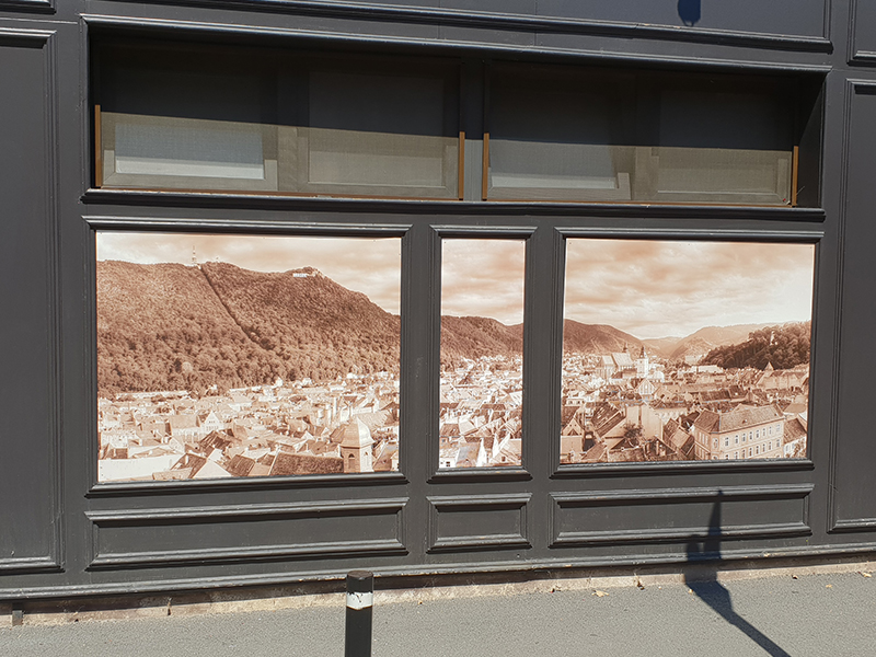 UV printing for façade decoration Millenium Bistro