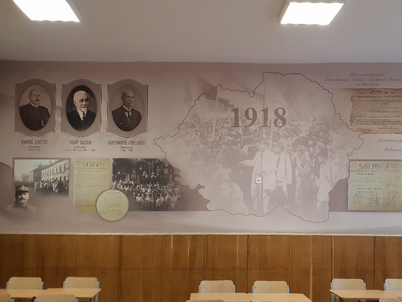 Decorative wallpaper for Andrei Saguna National College
