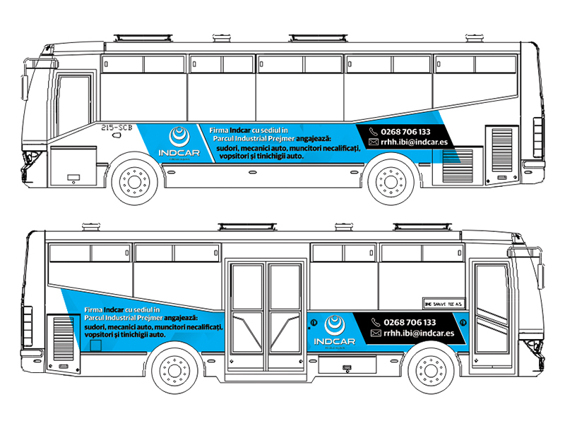 Bus advertising concept Indcar